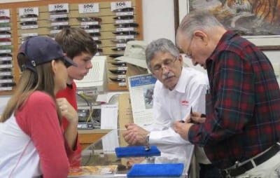 Kids learning from experts Dan Weidner, President Boker USA  and A.G. Russell in the A.G. Russell store.