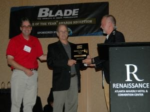 AKTI Vice President John Sullivan (W.R. Case), Steve Shackleford of BLADE, and Rod Bremer (CRKT), AKTI chair Anti-Counterfeiting Committee.