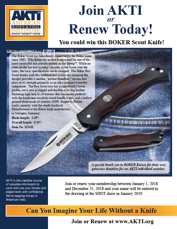Individuals Who Joins Or Renews Between January 1 And December 31 Will Be Entered In The Drawing For A Knife Is Held Each Year At SHOT Show