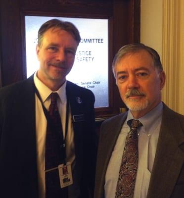 Rep. Joel Stetkis with Dan Lawson, AKTI's representative, at the Maine state capitol.